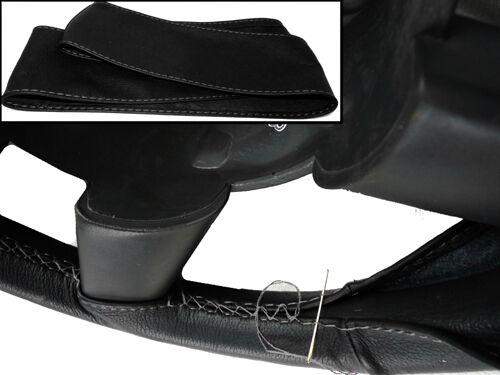 BLACK LEATHER STEERING WHEEL COVER GREY STITCH FOR MITSUBISHI DELICA 94-04 MK4
