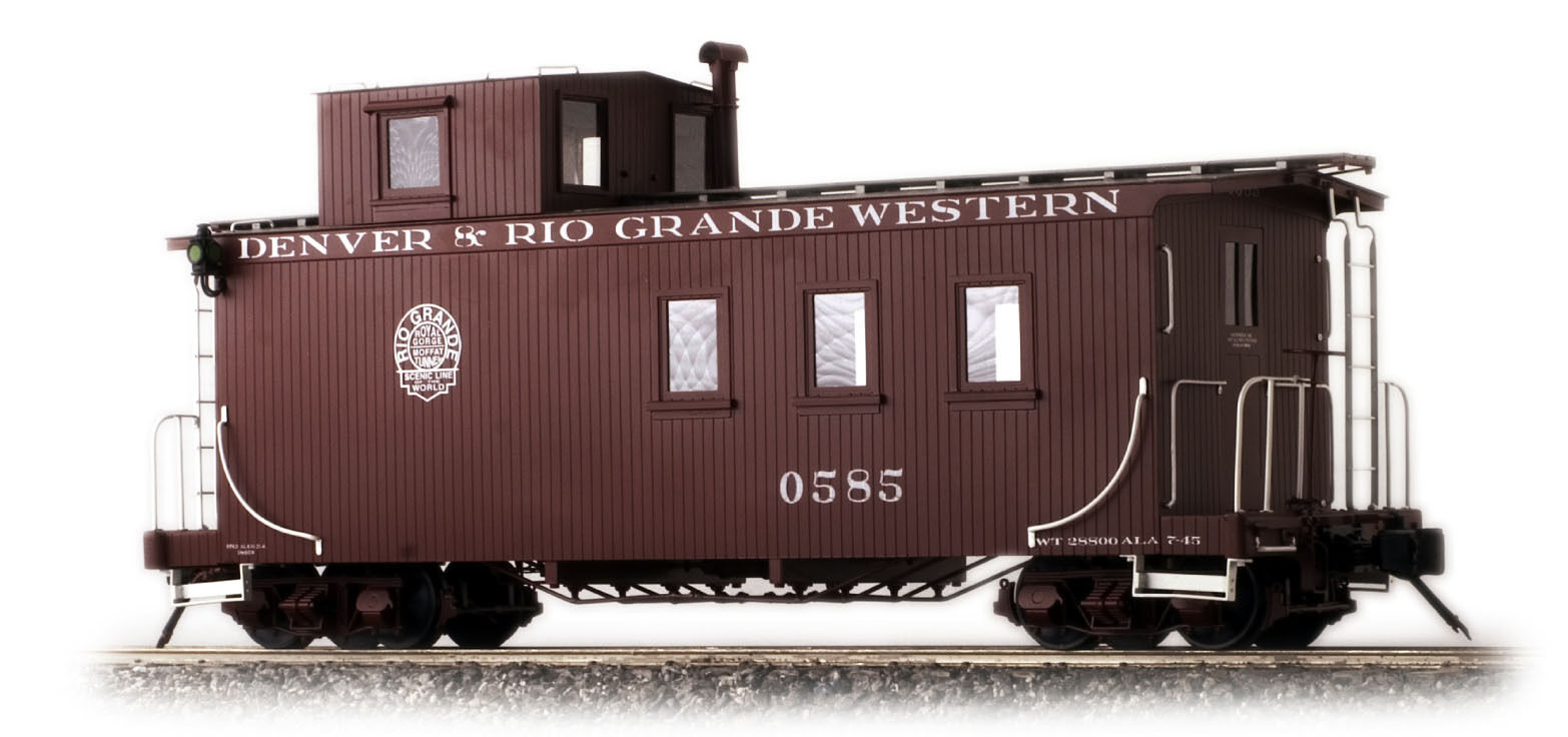 Accucraft D&RGW Long Caboose, Peaked Roof, Messingmodell in 1 20.3, Neuware