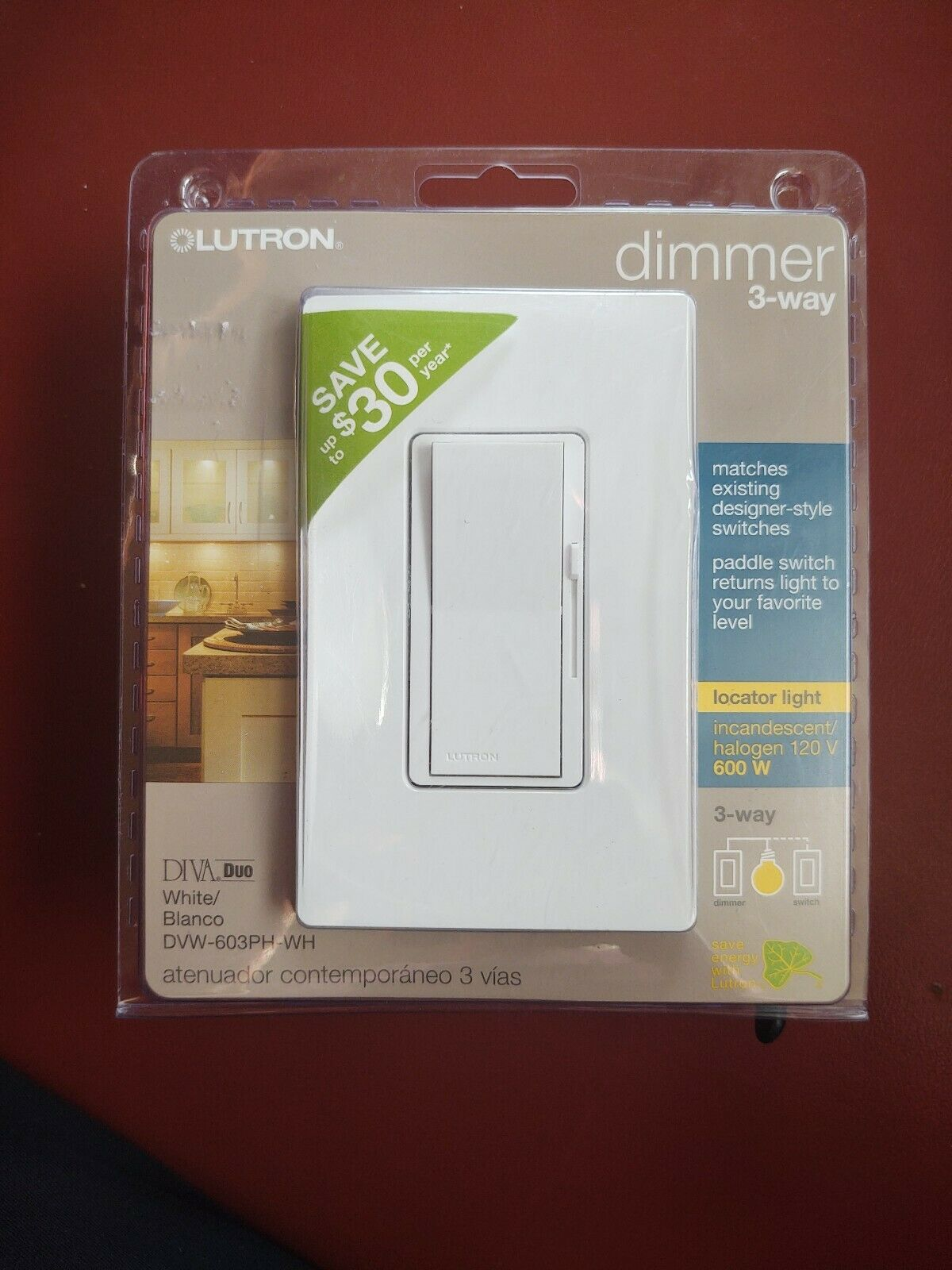Free Shipping! Lutron Contemporary Dimmer DV-600PH-WH Brand New Lot Of 2