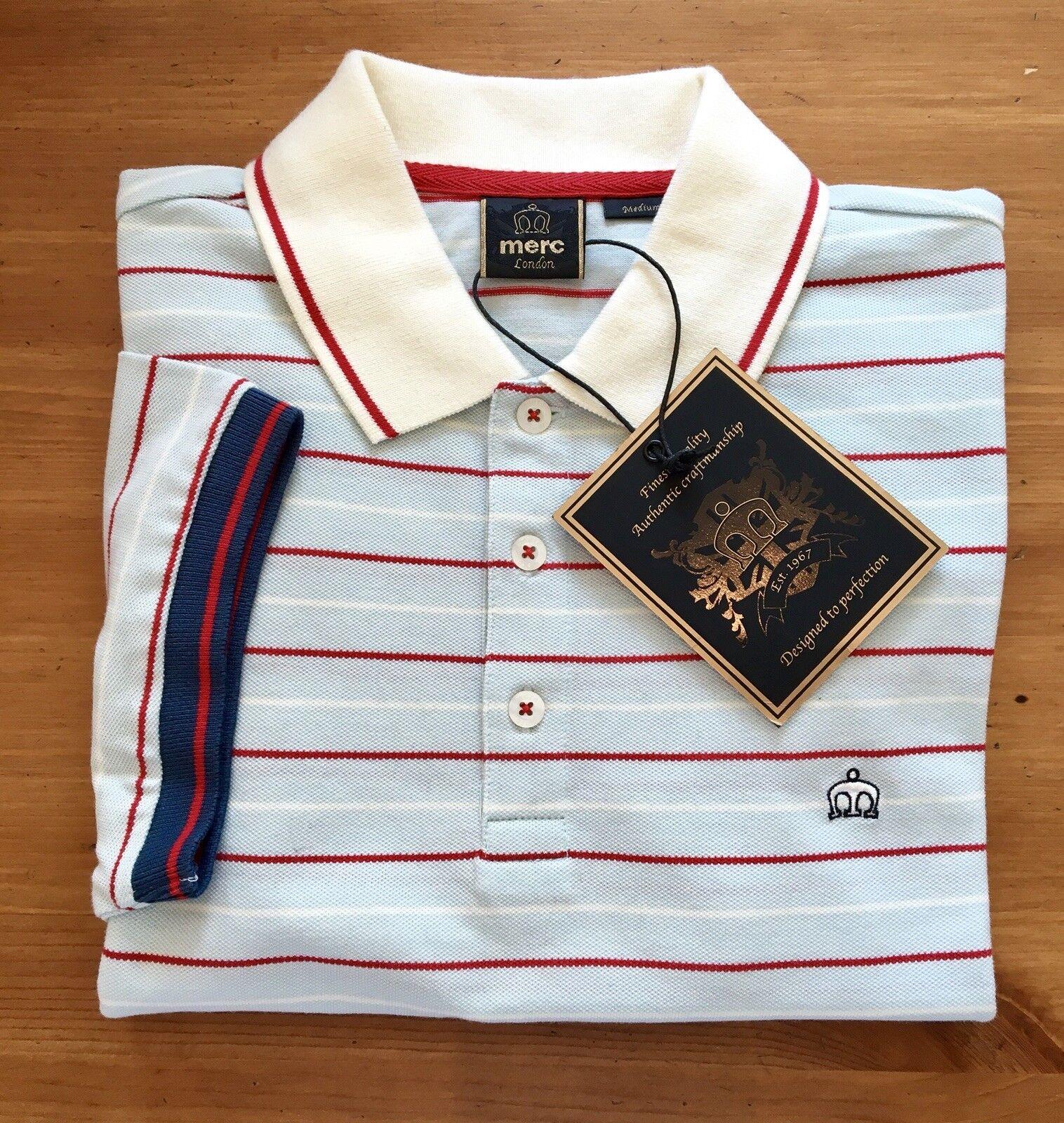 Merc London. Stripe Polo. SKY. XL. NUOVA con etichetta. 44  sul petto. stile classico.