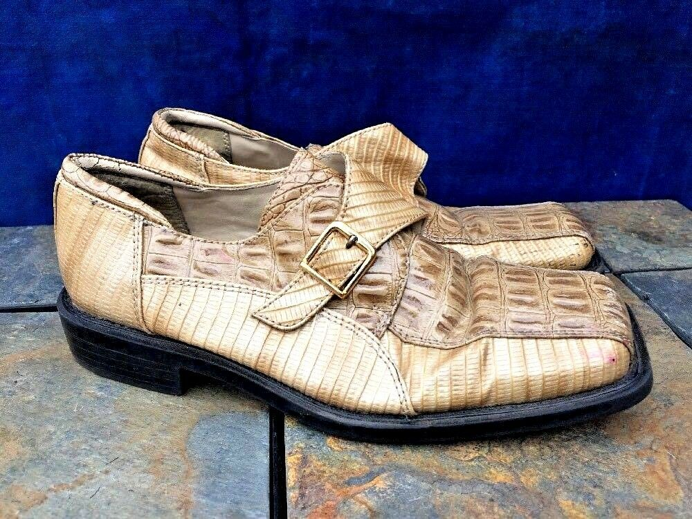 STACY ADAMS Faux Alligator Snake Skin LEATHER Loafer shoes Young Boy Mens Sz 5.5