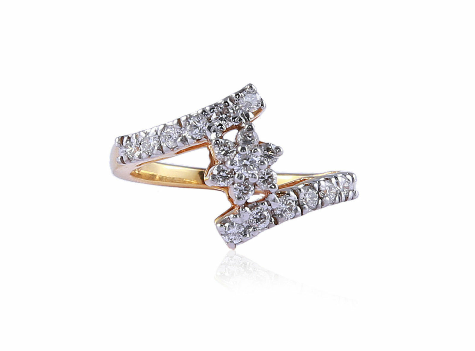 Pave 0.53 Cts Round Brilliant Cut Diamonds Engagement Ring In Solid 18Karat gold