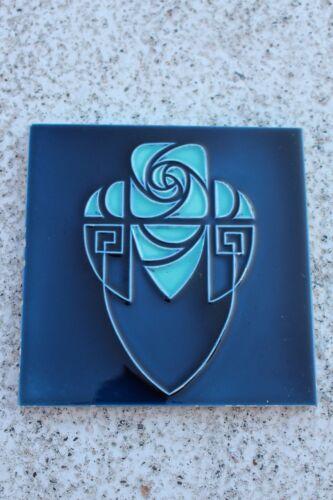 Wonderful Belgium Hemixem Blue Art Nouveau Art Deco Ceramic Tile Flower #753