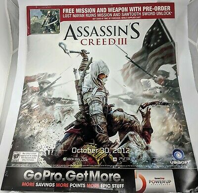 Gamestop Assassins Creed Iii Promo Poster 2012 28 X24 Ebay