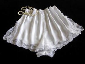 French Knickers Culotte Dentelle Satin Blanc Xxl Neuf Doux Soyeux Court Style Vintage-afficher Le Titre D'origine