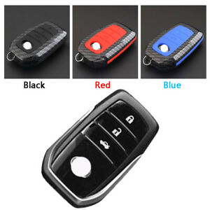 Carbon-Fiber-Design-Shell-Silicone-Cover-Holder-Fob-Case-For-Toyota-Remote-Key-B
