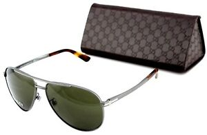 7e3009023 Image is loading RARE-NEW-Genuine-GUCCI-Matte-Ruthenium-Havana-Aviator-