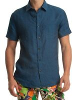 Mr Turk 'rancho Mirage Linen Slim Jim' Men's Designer Ss Shirt M Navy $198
