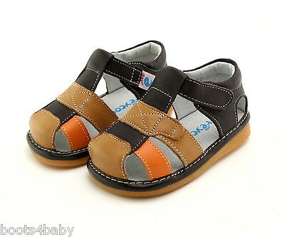 Boy's Toddler Children's Squeaky Shoes Brown , Tan &Orange Real Leather Sandals