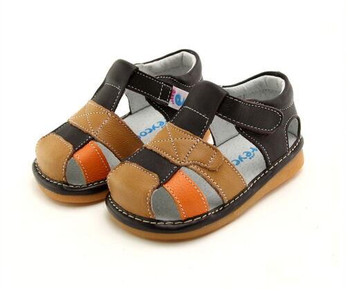 tan /& orange sandales en cuir véritable Boy toddler enfants squeaky shoes brown
