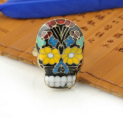 Hot Cool Peking Opera Skull Mask Ring Facebook Cocktail Finger Ring Flower Tooth