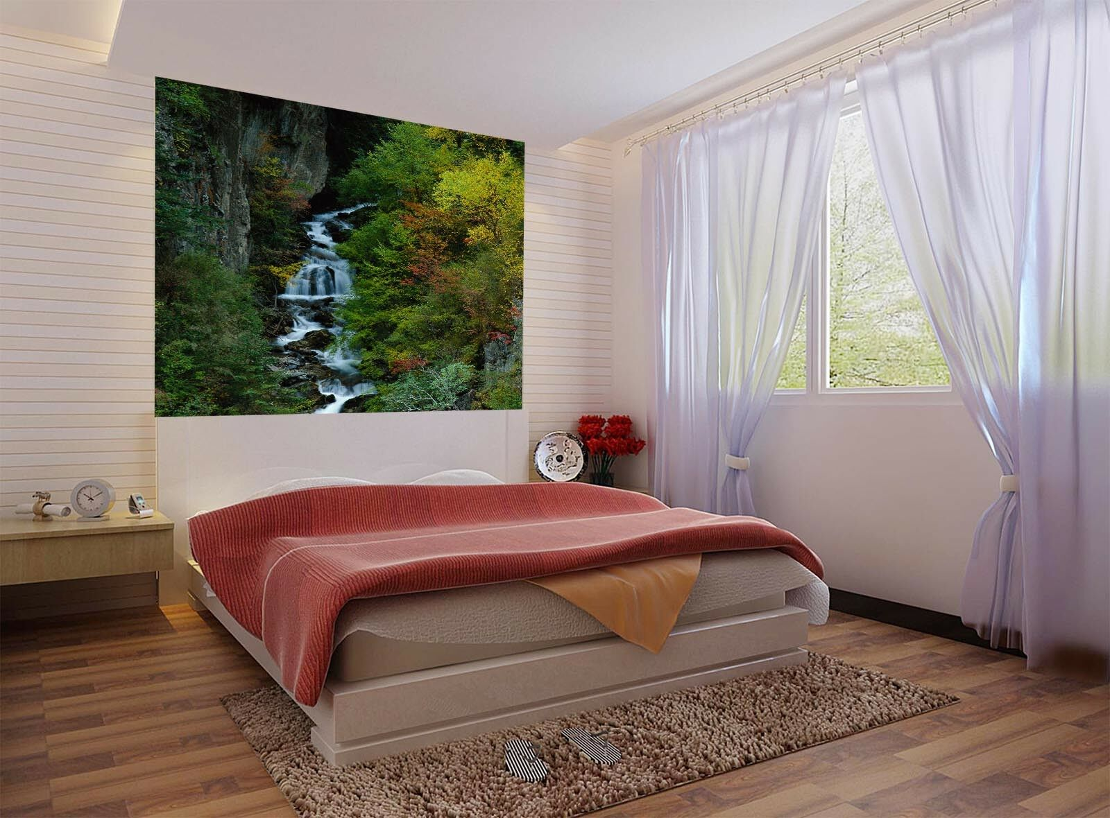 3D Shrub Forest Creek 6 Wall Paper Wall Print Decal Wall Deco Indoor Mural