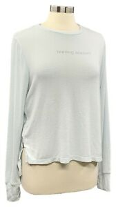 PEACE-LOVE-WORLD-size-S-ice-blue-long-sleeve-comfy-knit-top-w-side-zip-detail