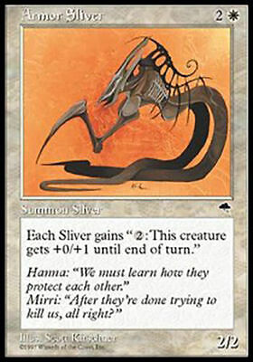 1x HORNED SLIVER NM Rare Tempest MTG Magic the Gathering