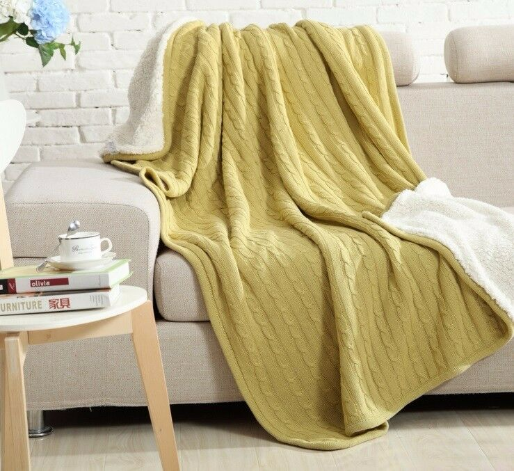 Warm Knitted Throw Rug with Fleece Lining   Bed Runner 150  200cm