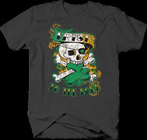 Irish to the Bone Skull  Three Leaf Clover Leprechaun T shirt for men