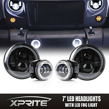 """7"""" 90W PHILIPS LED Headlights Halo with Fog Light White Combo For 07-17 Jeep"""