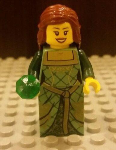 Lego NEW Castle Green FEMALE Princess MINIFIG Girl Maiden Kingdoms w// Gem//Jewel