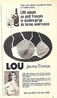 Fine Publicite Advertising 014 1961 Lou Jeune France Soutien Gorge Breweriana, Beer Collectibles
