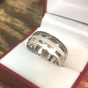 5a0b17dbd2e 14k White Gold Layer On Sterling Silver Wedding Plain Design Men ...
