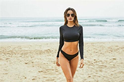 Damen Langarm Tankini Bikini Set Tanga Beach Bademode Badeanzug Badebekleidung