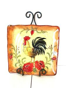 Maxcera-HONEY-ROOSTER-Decorative-Plate-Hand-Painted-Square-11-034-x-11-034