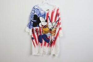 NOS-Vintage-80s-Mens-3XL-Disney-Mickey-Mouse-USA-All-Over-Print-Flag-T-Shirt