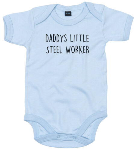 STEEL WORKER BODY SUIT PERSONALISED DADDYS LITTLE BABY GROW GIFT