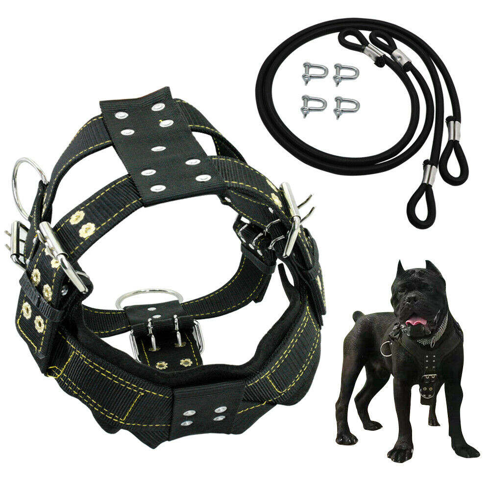Adjustable Weight Pulling Dog Harness Padded Heavy Duty for Large Breeds Pitbull