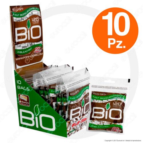 1200 Filtri POP FILTERS Biodegradabili Eco-Tips Slim 6mm 10 BUSTINE da 100
