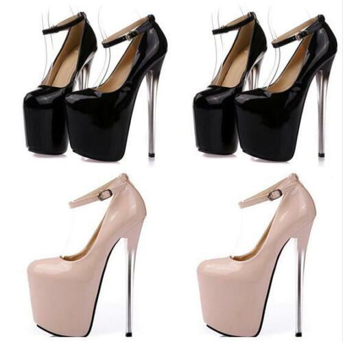 Knöchelriemen Damenschuhe Rund Super High Heel Stiletto Platform Pumps Nachtclub
