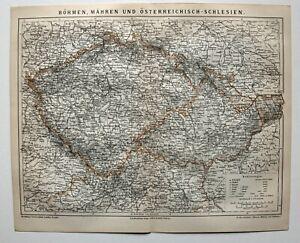 Boehmen-Maehren-Osterreichisch-Schlesien-K-amp-K-Landkarte-Lithographie-1885