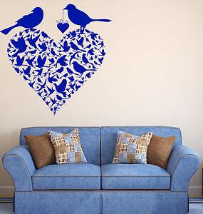 Vinyl Decal Wall Sticker Couple Birds Heart Shape Spring Love Decor (n744)