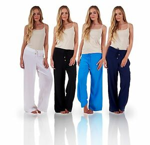 a0a43813d083 Image is loading Ladies-Plain-Beach-Trousers-Womens-Lightweight-Holiday- Summer-