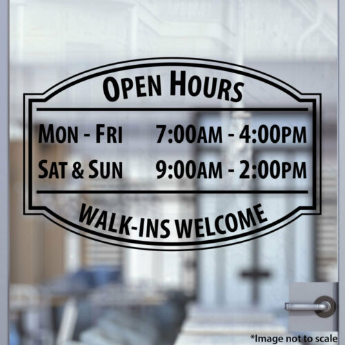 Custom Office Store Business Hours Sticker Vinyl Decal Sign Open Hour Style 01