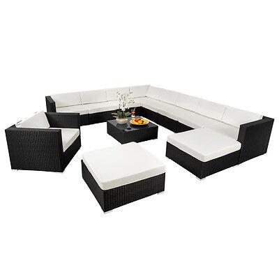 XXL Poly Rattan Alu Sitzgruppe Lounge Rattanmöbel Gartenmöbel Sofa Set schwarz n