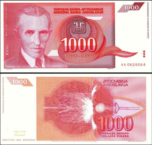 YUGOSLAVIA 1000 1,000 DINAR 1992 UNCIRCULATED P-114