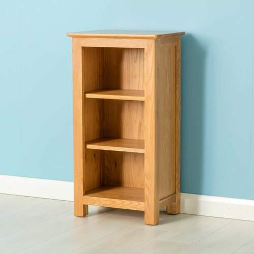 Small Narrow Bookcase with Adjustable Shelves Nordic Oak Mini Bookcase Low