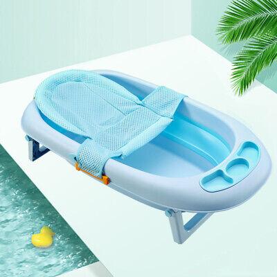 Newborn Infant Baby Bathing Cradle For Bathtub Seat Sling Shower Mesh Net Blue