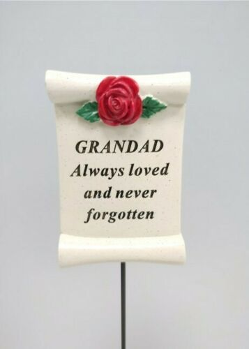 Always Loved Grandad Flower Rose Memorial Tribute Stick Graveside Plaque