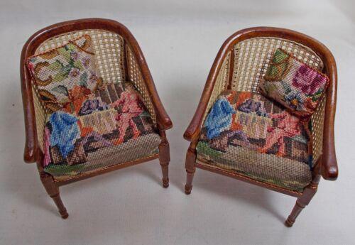 Dollhouse Miniature Pair Figural Antique Petit Point (Set A)