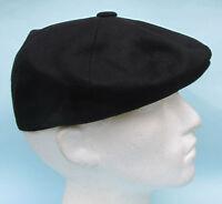 Flat Cap Black Wool 8 Panel News Boy Baker Boy Gatsby S M L XL