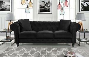 Sensational Details About Classic Velvet Sofa Scroll Arm Tufted Button Chesterfield Vintage Couch Black Creativecarmelina Interior Chair Design Creativecarmelinacom