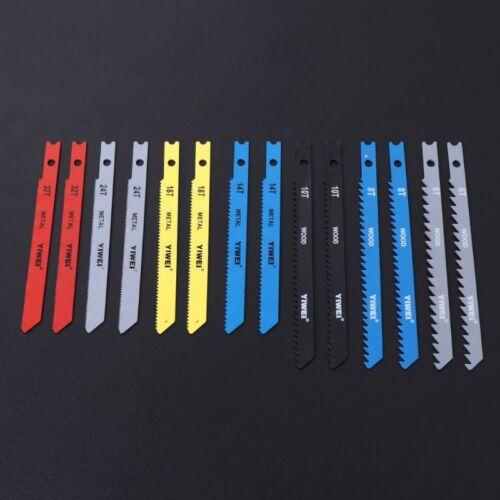 14 Pcs Jigsaw Blades Set Fitting T Shank Jig Saw Metal Plastic Wood Blades