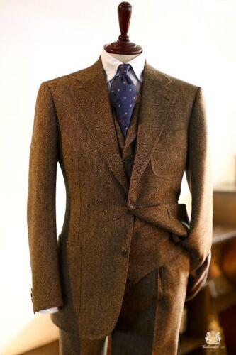 Men/'s Tweed Herringbone Wool Blend 3 Pieces Tuxedos Vintage Blazer Dinner Suit