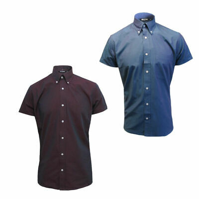 Relco Mens Tonic Short Sleeve Shirt Two Tone Blue Green Burgundy Mod Vintage Ska