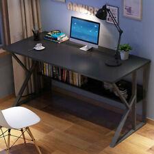 Black Computer Desk Pc Laptop Table Wood Workstation Study Home Office Furniture