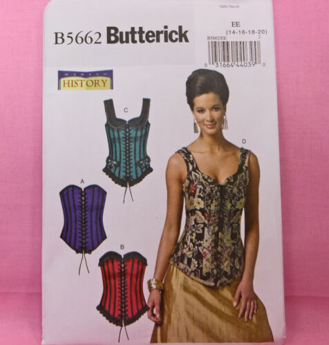 Butterick 5662 Misses/' Vintage Steampunk Costume Corset Sew Pattern 14-20 4Looks