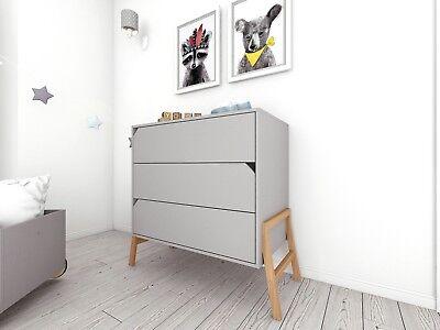 Kinderkommode Kommode Kinderzimmer mit Füßen Holz Grau Marta   eBay