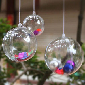 Clear-Plastic-Fillable-Ball-Ornaments-Xmas-Favor-Candy-Crafts-12-Pc-Sphere-Sets